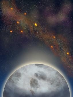 Fond De L'espace Avec La Lune Et Les étoiles Photo Premium