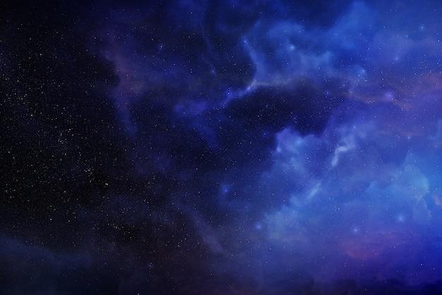 Fond de l'espace avec nébuleuse réaliste et étoiles brillantes