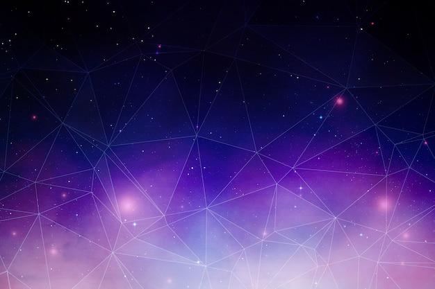 Fond d'espace polygonal avec nébuleuse réaliste et étoiles brillantes