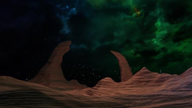 Fond d'espace de l'univers fantastique, éclairage volumétrique. rendu 3d