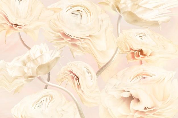 Fond esthétique, fleur de renoncule beige trippy