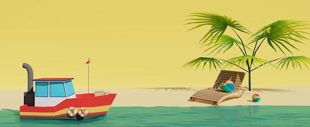 Fond d'été de bannière rendu 3d avec un petit bateau mignon près du rivage