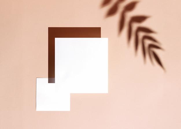Fond d'été élégant avec deux cartes papier carrées sur fond beige pastel. concept minimal créatif à la lumière du jour avec une ombre floue de branche tropicale.