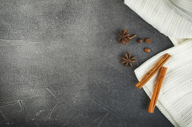 Fond d'étoiles de café, cannelle et anis