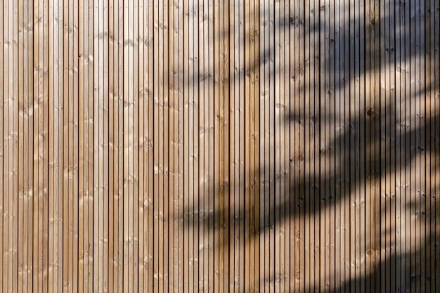 Fond de façade en bois écologique moderne avec ombre d'arbre. texture de fond de boiseries