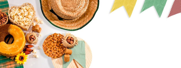 Fond de fête de juin brésilien format extérieur festa junina.