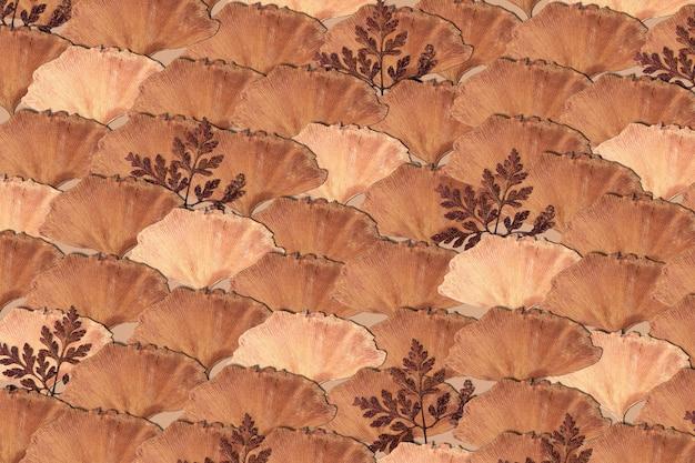 Fond de feuilles séchées en beige