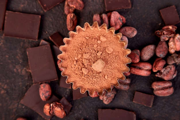 Fond de fèves de cacao.