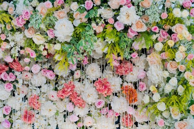 Fond de fleurs, décoration de mariage en toile de fond, motif rose