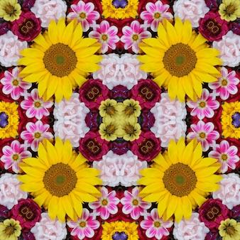 Fond de fleurs. effet d'un kaléidoscope. modèle sans couture