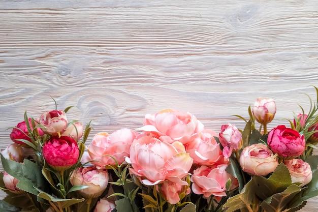 Fond de fleurs de pivoines. vue de dessus
