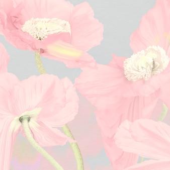 Fond floral, art psychédélique de pavot rose