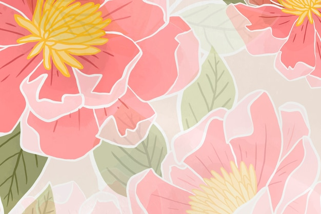 Fond floral rose dessiné à la main