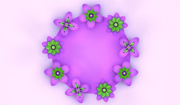 Fond floral de saison de printemps avec illustration 3d de l'espace de copie