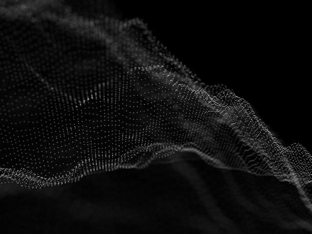 Fond de flux de particules de réseau 3d