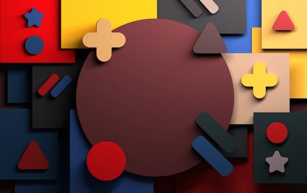 Fond avec des formes géométriques abstraites roses, vertes et bleues