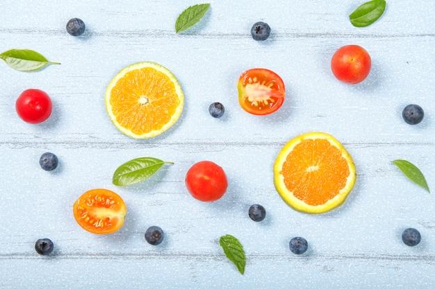 Fond de fruits frais pris de haut