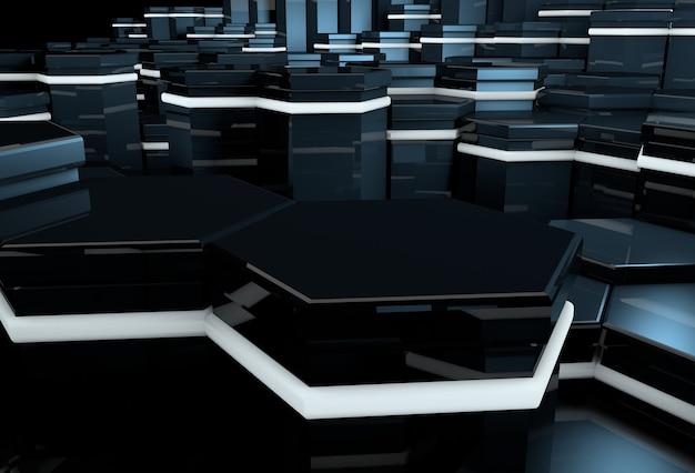 Fond futuriste 3d avec des colonnes de pierre rougeoyantes