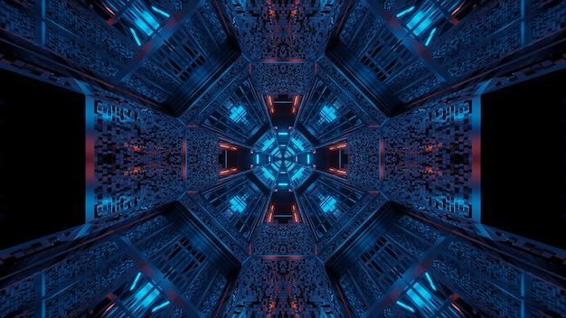 Fond futuriste avec des lumières laser abstraites violettes et bleues