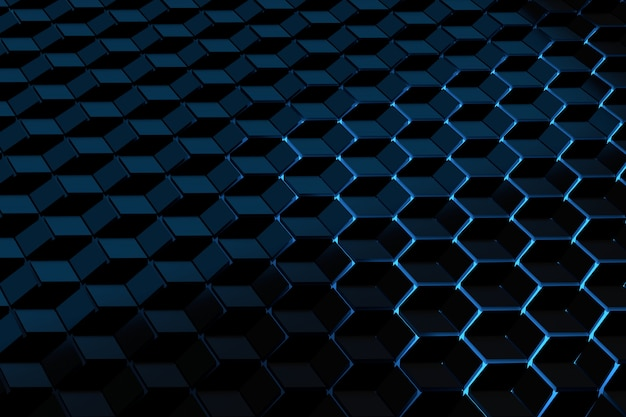 Fond futuriste avec un motif de cubes d'hexagones éclairés par la lumière bleue.
