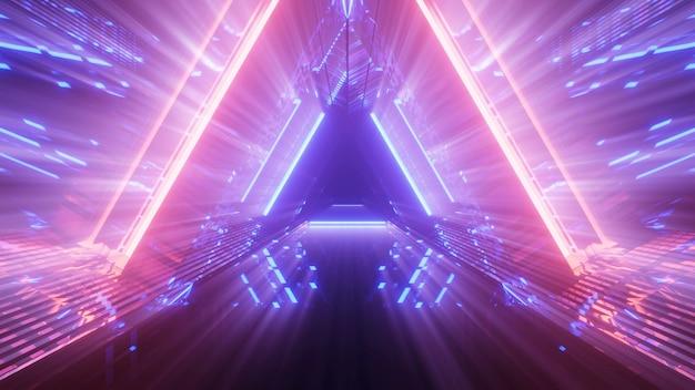 Fond futuriste avec néons abstraits colorés lumineux