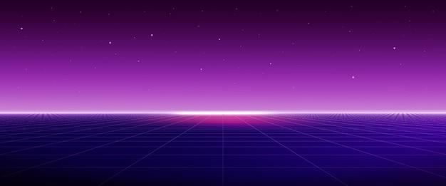 Fond futuriste rétro des années 80 avec grille laser, concept abstrait de science-fiction, cyberpunk. rendu 3d.