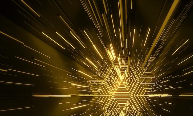 Fond futuriste de science-fiction brillant au néon. couloir de tunnel rougeoyant de lasers de lumières électriques vibrantes jaunes. rendu 3d