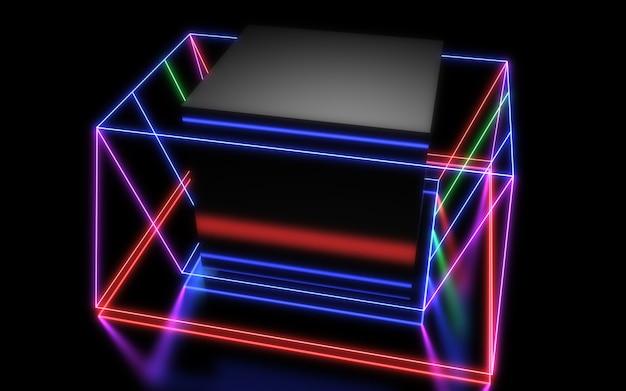 Fond géométrique abstrait 3d avec néons. illustration 3d