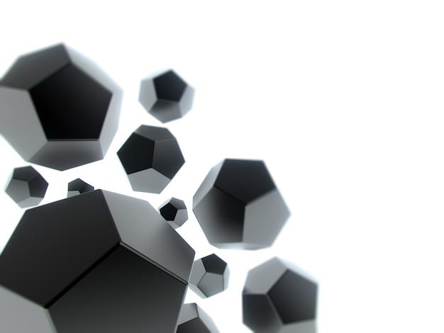 Fond géométrique avec des formes noires abstraites et un espace pour le texte