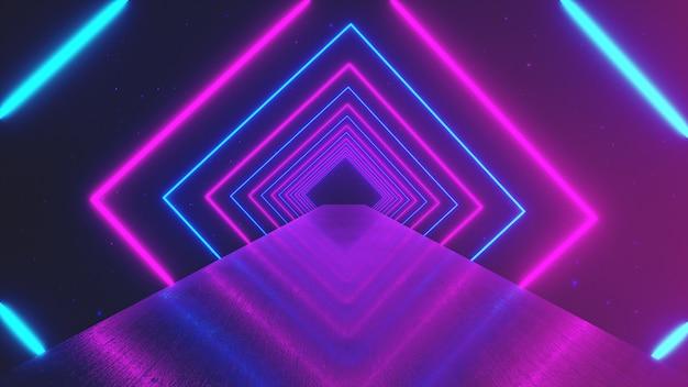 Fond géométrique de mouvement abstrait, carrés de néon rougeoyant créant un tunnel rotatif, spectre violet rose bleu, lumière ultraviolette fluorescente, éclairage coloré moderne, illustration 3d