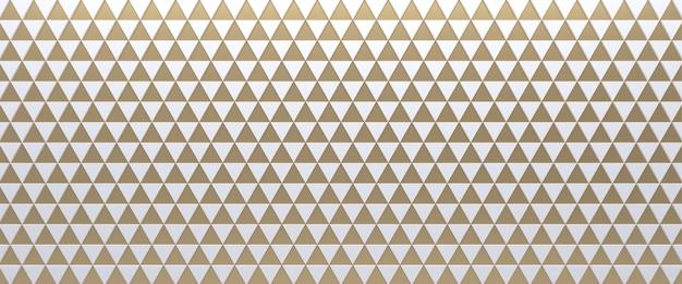 Fond géométrique triangulaire carrelé blanc et or. surface de triangles extrudés. 3d.