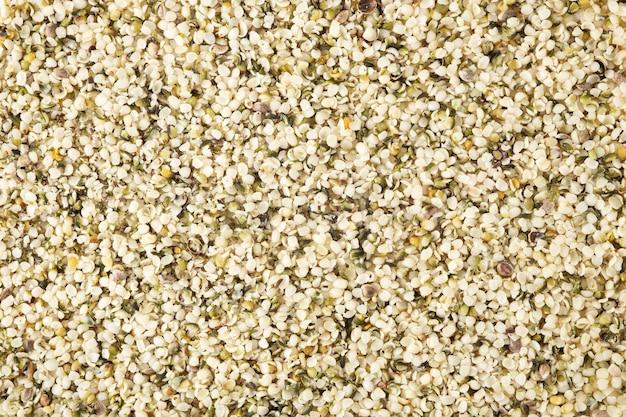 Fond de graines de chanvre, vue du dessus
