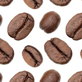 Fond de grains de café, isolé sur blanc. concept alimentaire... modèle de grains de café.