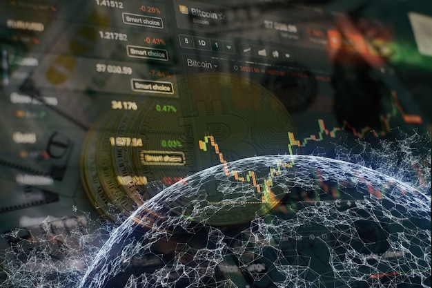 Fond de graphique d'entreprise sur un moniteur qui comprend l'analyse de marché. graphiques à barres, diagrammes, chiffres financiers. graphique forex.