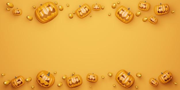 Fond d'halloween citrouille et bougies illustration 3d