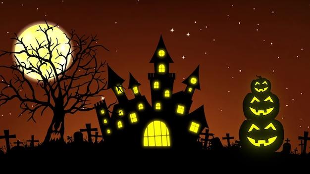 Fond d'halloween - concept de citrouilles et d'arbres effrayants. rendu 3d.