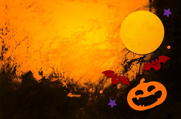 Fond d'halloween espace de fond de mur de brique orange pour le texte illustration 3d à plat