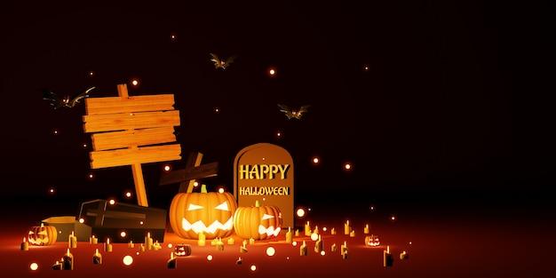 Fond d'halloween avec illustration 3d de panneau en bois vierge