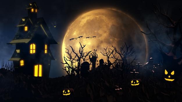 Fond d'halloween avec maison hantée, fantôme, chauves-souris et citrouilles
