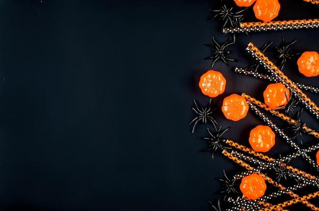 Fond d'halloween avec motif de bonbons