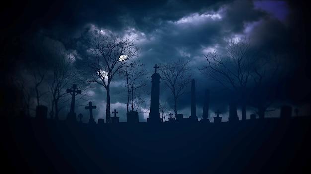 Fond d'halloween mystique avec des nuages sombres et une tombe sur le cimetière. toile de fond abstrait de vacances. illustration 3d luxueuse et élégante du thème d'halloween