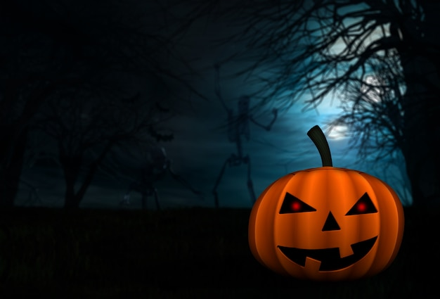 Fond d'halloween avec des squelettes et de la citrouille