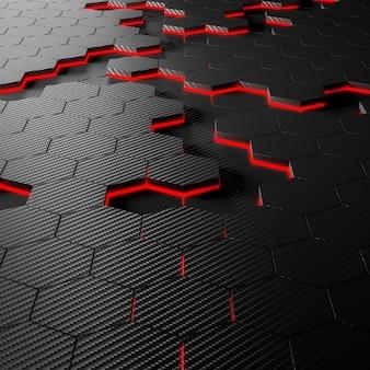 Fond hexagonal en fibre de carbone