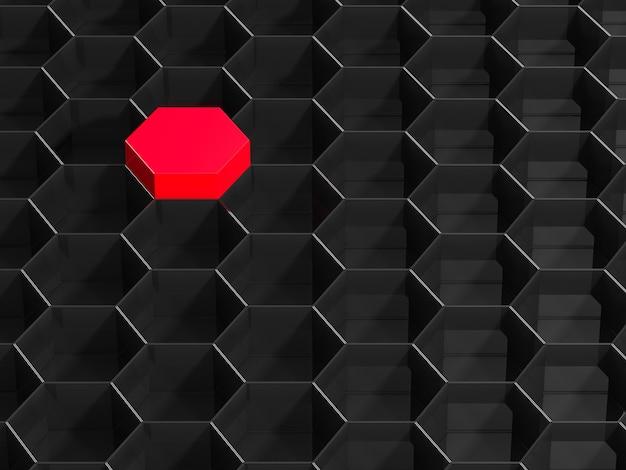 Fond hexagonal noir avec élément rouge. rendu 3d