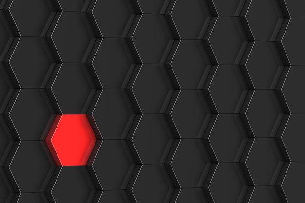 Fond hexagone noir avec elemant rouge. illustration 3d