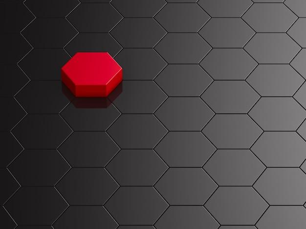 Fond hexagone noir avec élément rouge