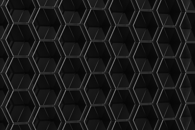 Fond hexagone noir. illustration 3d