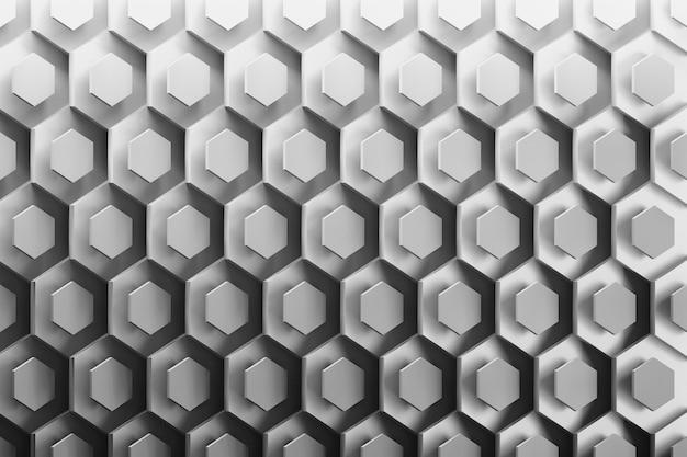 Fond avec des hexagones abstraites soigneusement disposées en noir et blanc