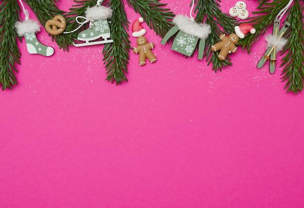 Fond d'hiver et de noël en rose