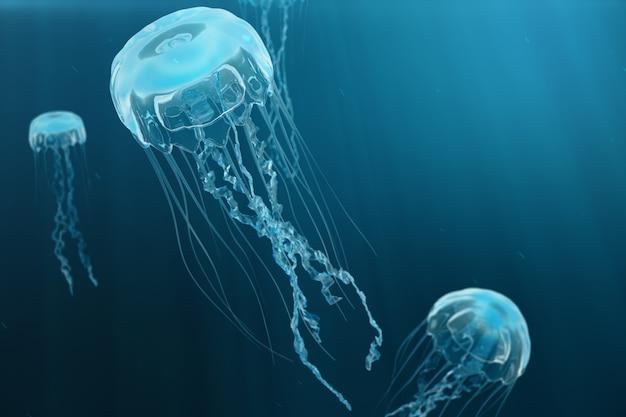 Fond d'illustration 3d de méduses. les méduses nagent dans la mer de l'océan, la lumière traverse l'eau, créant l'effet des rayons de volume. méduse bleue dangereuse